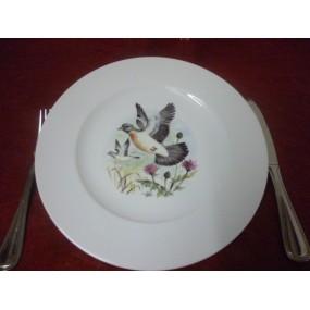 ASSIETTE PLATE décor PIGEON en Porcelaine modèle HELENE