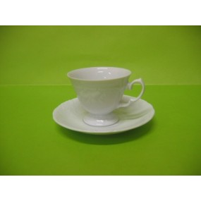 TASSE CAFE FRYDERYKA avec soustasse en porcelaine blanche