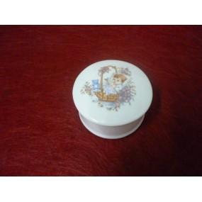 BOITE A DRAGEES / BIJOUX RONDE DECOR BAPTEME en porcelaine