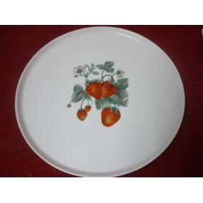 PLAT A TARTE  32.8cm en Porcelaine DECOR FRAISES