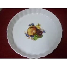 TOURTIERE 30cm décor FRUITS en porcelaine