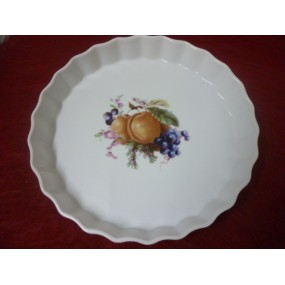 TOURTIERE 27cm décor FRUITS en porcelaine