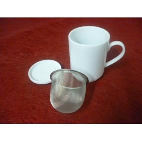 MUG TISANIERE / THE 25cl avec filtre inox et couvercle en porcelaine blanche