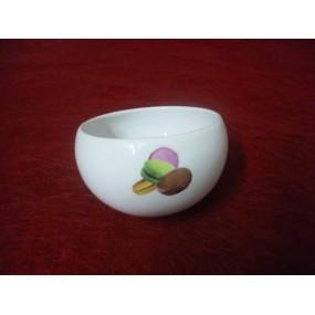 PETIT SUCRIER ou BOL incliné en Porcelaine décor MACARONS