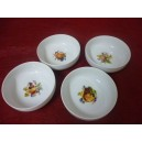 Service 4 COUPELLES ELYSEE Décor FRUITS 25cl diam 13cm en porcelaine