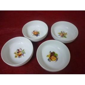 Service 4 COUPELLES ELYSEE Décor FRUITS 25cl diam 13cm en porcelaine