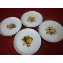 SERVICE A DESSERT 4 ASSIETTES Décor FRUITS en porcelaine modèle Elysée