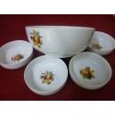 SERVICE A DESSERT SALADIER + 8 COUPELLES rondes en porcelaine décors FRUITS