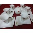 Service à Café  8 tasses OCEANE + sucrier Décor COQUELICOT pavot en Porcelaine