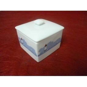 BOITE CARREE ou sucrier en porcelaine décor Bleu MER
