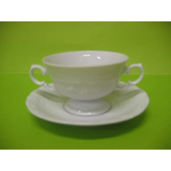 bol bouillon fryderyka 2 anses en porcelaine blanche avec sous tasse centre vaisselle sarl la. Black Bedroom Furniture Sets. Home Design Ideas