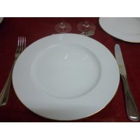 ASSIETTE DE PRESENTATION 32cm avec 1 filet Or Modèle HELENE en Porcelaine Blanche