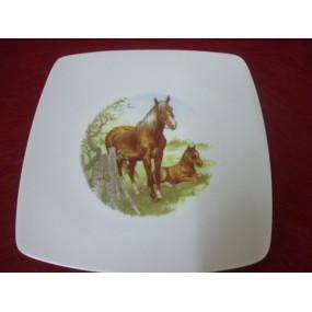 ASSIETTE PLATE SAHARA DECOR n° 2 CHEVAL & SON POULAIN  en porcelaine