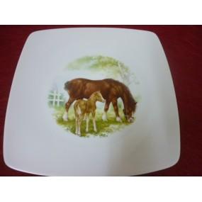 ASSIETTE PLATE SAHARA DECOR n°4 CHEVAL & SON POULAIN  en porcelaine