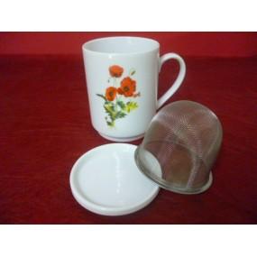 MUG TISANIERE / THE 25cl décor COQUELICOTS avec filtre inox et couvercle en porcelaine