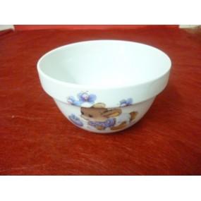 BOL empilable 50cl en Porcelaine décor lapin bleu