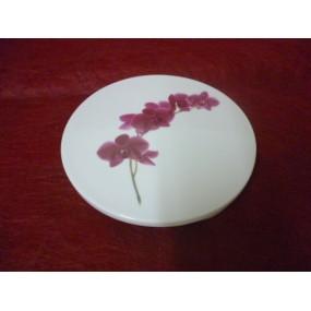 DESSOUS DE PLAT ROND en porcelaine Décor ORCHIDEE