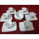 SERVICE A CAFE 6 Tasses CARREE 11cl Décor MACARONS en porcelaine