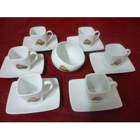 SERVICE A CAFE 6 Tasses CARREE 11cl Décor MACARONS en porcelaine