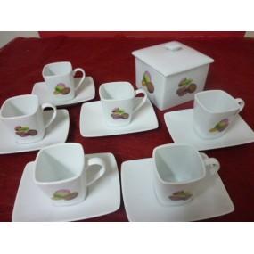 SERVICE A CAFE 6 Tasses CARREE 11cl et Boîte carrée Décor MACARONS en porcelaine