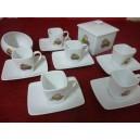 SERVICE A CAFE 6 Tasses CARREE 11cl accompagnée de son sucrier incliné et sa Boîte carrée Décor MACARONS en porcelaine