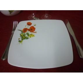 ASSIETTE PLATE carrée SAHARA DECOR COQUELICOT en porcelaine