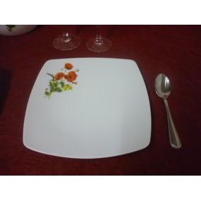 ASSIETTE A DESSERT carrée SAHARA DECOR COQUELICOT  en porcelaine