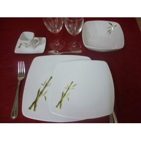 SERVICE DE TABLE 24 pcs SAHARA décor BAMBOU en porcelaine