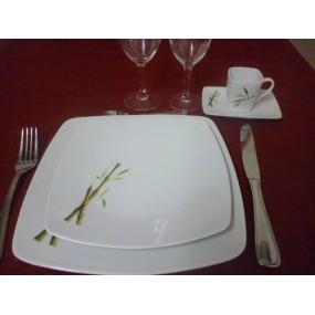 SERVICE DE TABLE 18 pcs SAHARA décor BAMBOU en PORCELAINE