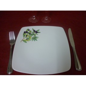 ASSIETTE PLATE carrée SAHARA DECOR OLIVES en porcelaine