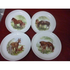 SERVICE A DESSERT ELYSEE 8 assiettes Décor CHEVAL & SON POULAIN  en porcelaine