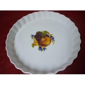 TOURTIERE Grand modèle 33 cm en porcelaine décor FRUITS