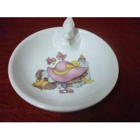 ASSIETTE  CHAUFFANTE DECOR  LAPIN ROSE (bouchon CANETON)en porcelaine