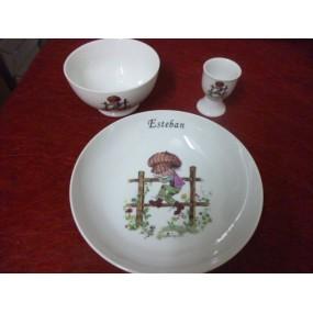service 3 Pcs decor ENFANT SUR BARRIERE en porcelaine