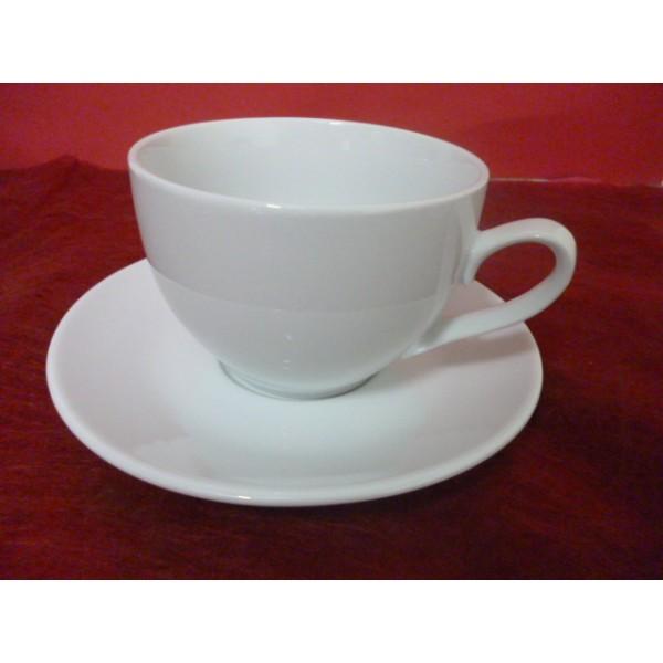 tasse dejeuner village 65cl anse en porcelaine blanche avec soustasse centre vaisselle sarl. Black Bedroom Furniture Sets. Home Design Ideas