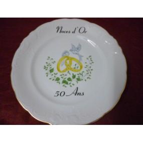 ASSIETTE NOCES D'OR 50 ans Mariage Grand décor Alliances et Colombes en Porcelaine