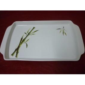 PLATEAU DE SERVICE A ANSES DECOR BAMBOU en porcelaine