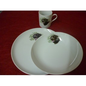 SERVICE 3 Pcs decor labrador en porcelaine