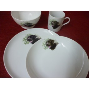 SERVICE 4 Pcs decor labrador en porcelaine