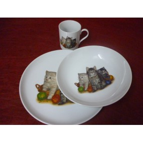 SERVICE 3 Pcs decor Chats en porcelaine