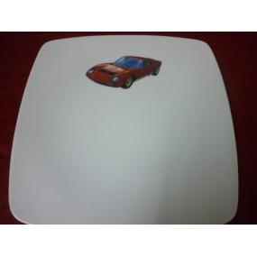 ASSIETTE PLATE CARREE SAHARA en porcelaine DECOR voiture Lamborghini