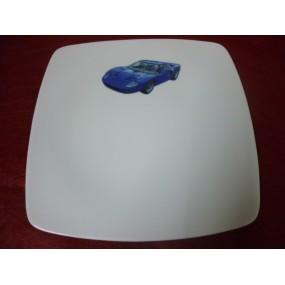 ASSIETTE PLATE DECOR VOITURE FORD GT40 Modèle SAHARA en porcelaine