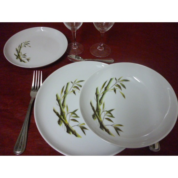 assiette creuse decor bambou courb mod le elysee en porcelaine centre vaisselle sarl la. Black Bedroom Furniture Sets. Home Design Ideas