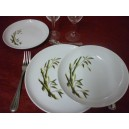 SERVICE DE TABLE 18 pcs ELYSEE décor BAMBOU Courbé en porcelaine