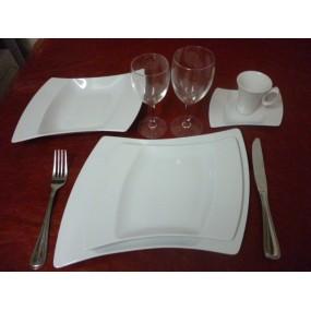 SERVICE DE TABLE 24 pcs OCEANE en PORCELAINE BLANCHE