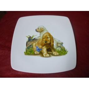ASSIETTE PLATE CARREE SAHARA en porcelaine DECOR CHIOTS