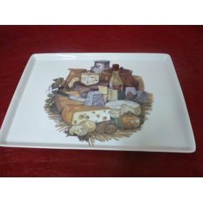 PLATEAU A FROMAGES  en porcelaine décor Fromages
