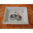 "VIDE POCHE RECTANGULAIRE ""Spécial St VALENTIN "" DECOR DUO ELEPHANTS en porcelaine"