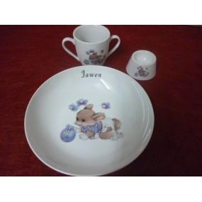 SERVICE 3 Pièces LAPIN BLEU n°1 en porcelaine Décorée