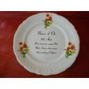 ASSIETTE NOCES D'OR 50 ans Anniversaire de Mariage en Porcelaine décors Coquelicots sur FEUILLAGE VERT